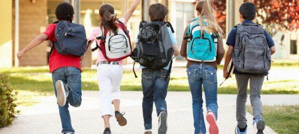 Elevi mergand la scoala